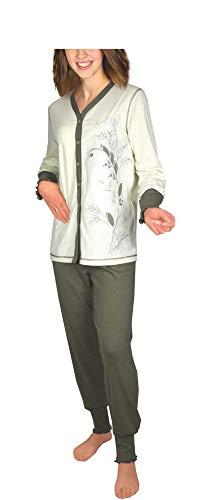 Damen Pyjama Schlafanzug Langarm Baumwolle Knopfleiste DW343 (44/46, Olive)