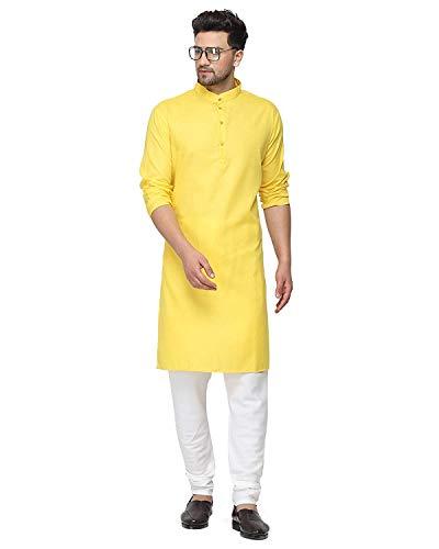 Enmozz® Yellow Cotton Plain Men's Ethnic Simple Kurta Only