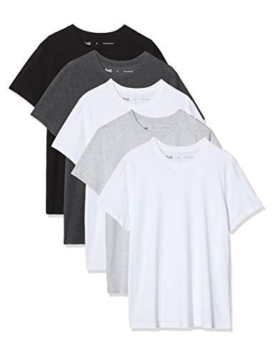 Amazon-Marke: find. Herren T-Shirt, 5er-Pack, Mehrfarbig (Wht/Blk/Gry/Char), XXL, Label: XXL