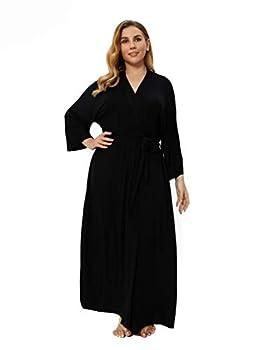 Women s Plus Size Long Robes Kimonos Plus Size Maternity Robes Delivery Robes Sleepwear,Black 2X