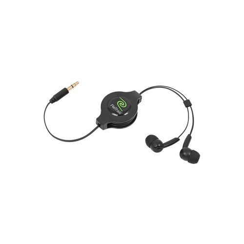 ReTrak Retractable Stereo Earbuds, Comfortable and Durable Design with Premium Stereo Sound, Black