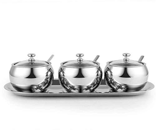 GND Juego de recipientes para condimentos de cocina de acero inoxidable para salero, pimentero, condimentos