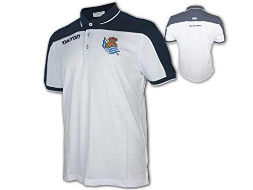 Macron Real Sociedad San Sebastián Polo blanco Fan Polo La Liga, Unisex, blanco y azul marino, large