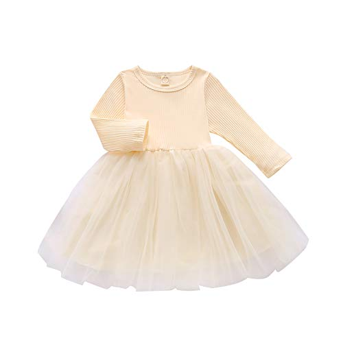 Toddler Baby Girl Knitted Dresses Little Kids Long Sleeve Ruffle Solid Color Sweater Skirt Playwear (D4-Beige, 3-4 Years)