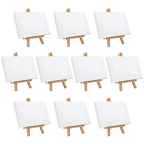 Belle Vous Mini Tele da Dipingere con Mini Cavalletto per Dipingere (10pz) Tela per Dipingere 15,5 x 8,9 cm - Set Tele per Dipingere Pre-Stirate e Pronte - Mini Cavalletto Pittura Bambini per Disegno