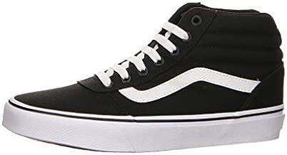Vans Women's Hi-Top Trainers Sneaker, Black Canvas Black White 187, 5
