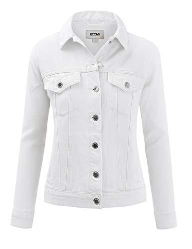 Womens Classic White Denim Jean Jacket