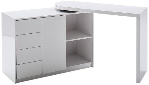 Robas Lund Schreibtisch Weiß Hochglanz Computertisch Bürmöbel mit Schwenkbarer Schreibtischplatte