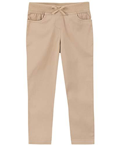 Nautica Girls' Toddler School Uniform Skinny Fit Stretch Twill Pant, Khaki/Pull-on, 2T