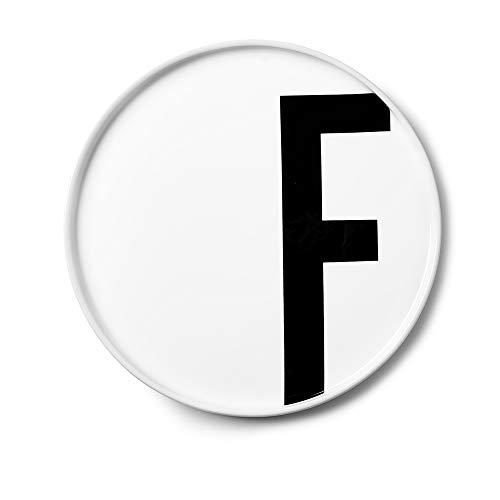 Design Letters Assiette Personnalisée en Blanc Porcelaine Fine de A-Z - F – Assiette Decorative, Idéal décorer, comme Cadeau Personnel, ou pour Les Repas, Compatible Lave-Vaisselle, D: 20cm