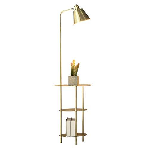 YANYNA Lámpara de pie con estantes, lámpara de suelo con luz, regulable, lámpara de suelo de luz para salón, Ministerio de interiores, decoración de salón (color: dorado)