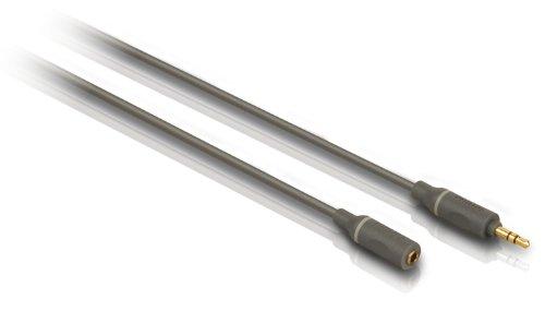 Philips Alargador de cable de auriculares SWA4528S 10 - cables de audio (1,5 m, 3.5mm, 3.5mm, Gris, Macho hembra, Oro)