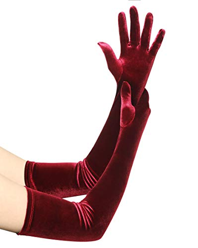 Coucoland Damen Handschuhe Satin Classic Opera Fest Party Audrey Hepburn Handschuhe 1920s Handschuhe Damen Lang Kurz Elastisch (Velvet Weinrot/55cm)
