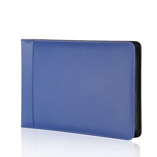 Business Check 7 Ring Checkbook Binder, PU Leather Portfolio, Built in Storage Organizer [Blue]