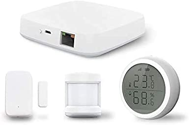 Yueyang Tuya - Kit de hub zigbee (puerta + sensor PIR + sensor de temperatura y humedad) Sistema domótico de seguridad para el hogar