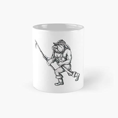 Bulldog Firefighter Pike Pole Fire Axe Tattoo Classic Mug - Taza de café (350 ml)