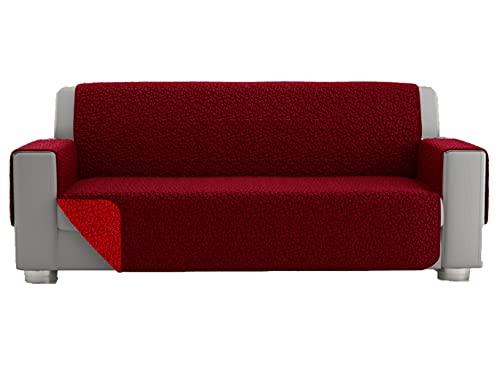 Funda para sofá de 3 plazas, funda para sofá de 2 plazas, funda acolchada reversible, funda protectora para sofá reversible (2 plazas, burdeos)