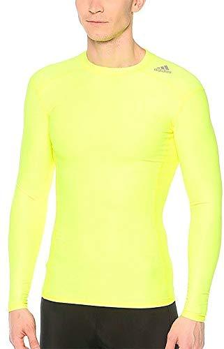 adidas TechFit Chill - Camiseta de compresión de manga larga para hombre, color amarillo, color amarillo, tamaño large