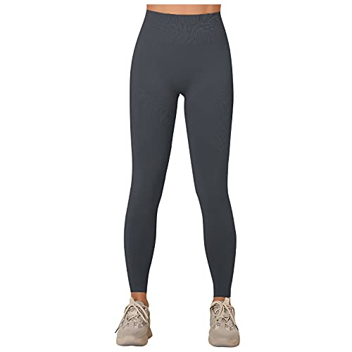 Pantalones Deportivos Mujer Color Sólido Leggins sin Costura de Tejido de Punto Mallas Push Up de Cintura Alta Pantalón Transpirables Elásticos Leggings de Yoga para Correr Gym Fitness