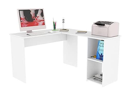 JM Imports Escritorio Home Office en L Milton 120x135 Blanco, Escritorio de Esquina con estantes, Mesa de Estudio, Estación de...