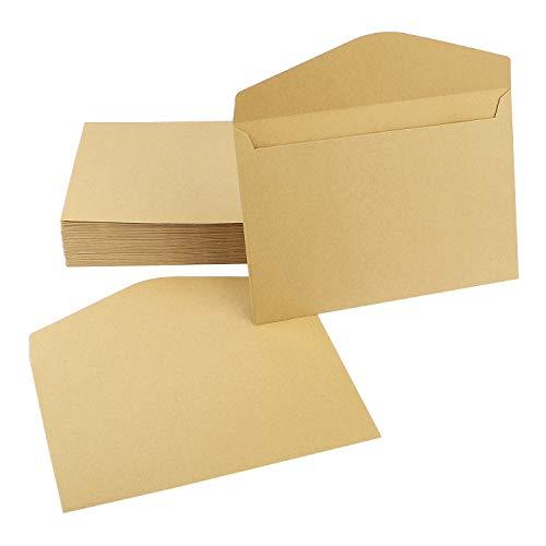 Uceoo Brown Kraft Invitation Envelopes, 6.3 x 9'' Natural Paper Envelopes - 50 Pack