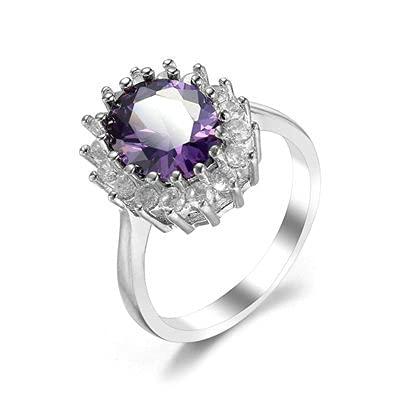 Bishilin Anillos Plateados para Mujer Púrpura Estilo de Moda Anillo Flor Clásico Anillo de Compromiso de Alianza de Boda con Púrpura Ovalada Circonita Tamaño:15