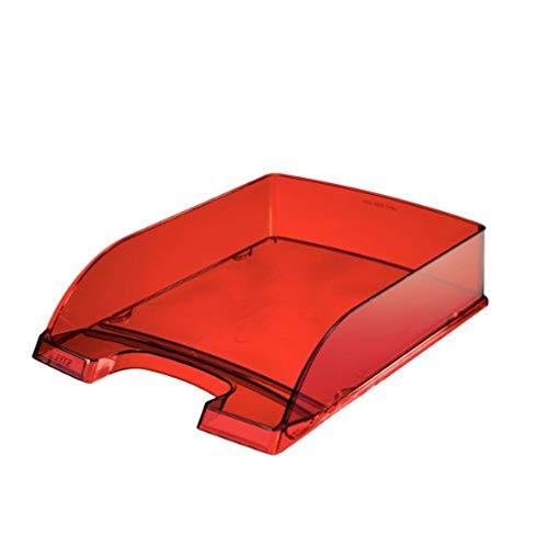 Leitz 52260028 - Bandeja de escritorio (Poliestireno, Rojo, Transparente, 255 x 357 x 70 mm, 280 g, A4)