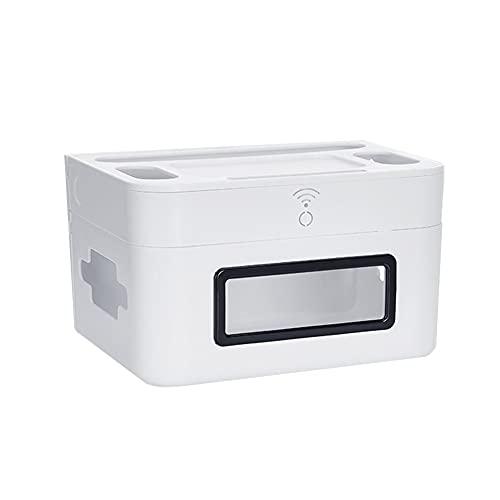 Caja De Almacenamiento De Cables Organizador Caja De Administración De Cables Enrutador De Doble Capa Caja De Almacenamiento Tablero Eléctrico De Escritorio Caja De Acabado White,B