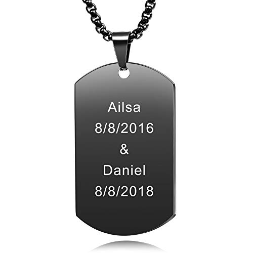 MeMeDIY Personalized Dog Tag Necklace Engraving Name Customized Necklace Pendant Chain for Men Women Stainless Steel Jewelry, Bundle with 4 Items: 2 Chains, Keychain, Silencer (Black Color)