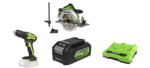 Greenworks Tools 1500907 Sierra Circular, 24 V + Taladro atornillador inalámbrico GD24DD35 + Batería G24B4 2ª generación + Batería de doble ranura Cargador universal G24X2C