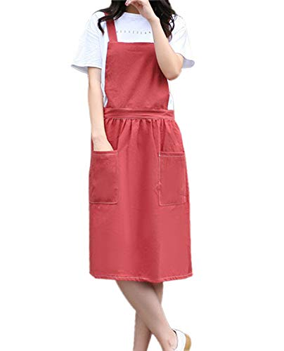 losofar Women Girls Pretty Apron Vintage Gardening Daily Chores Works Cotton/Linen Blend Aprons Pinafore Dress with Two Pockets (red, M)