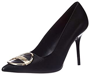 scheda love moschino scarpe col tacco in pelle, décolleté da 9.5 cm, donna, colore: nero, 38 eu