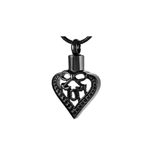 MITIAN Colgante de urna de fresno con diseño de corazón para hombre, collar de recuerdo de cremación de acero inoxidable 316L