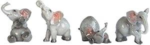 "George S. Chen Imports Grey Elephant Figurines (Set of 4), 3"""