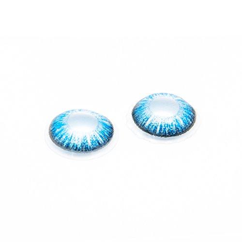 Eye Effect farbige Kontaktlinsen in vielen Farben für schöne natürlich Augen + gratis Kontaktlinsenbehälter (Blau Aqua) - 2