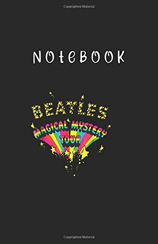 Notebook: The Beatles Magic Mystery Tour Notebook Medium Size 5.5'' x 8.5'' x 115 Pages White Paper Blank Journal with Black Cover Cute Gift for Baby - Family or Friends