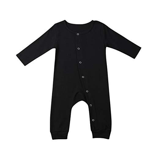 GWJGOGO Pasgeboren Baby Jongens Meisjes Leuke Effen Kleur Voet Romper Lange Mouw Jumpsuit Bodysuit Top Outfits Kleding