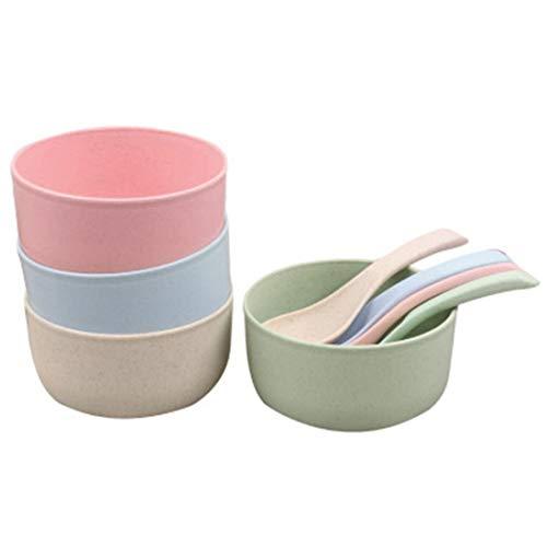 Haude Snack Bowls,Set of 4 Rice Bowls, Wheat Straw Fiber Snack Bowls,Eco-Friendly Safe Kitchen Bowl