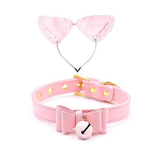 Pavian Fashion - Gargantilla de pelo largo con diseño de orejas de gato y collar de encaje, color rosa