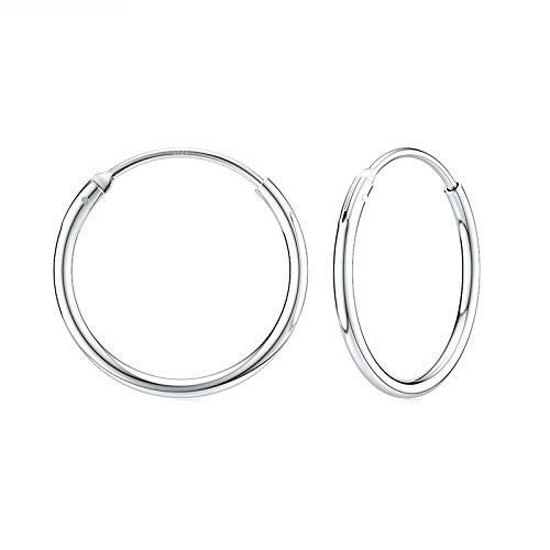 Pendientes de Plata para Mujer Pendientes de aro de Plata de Ley 925 Pendientes de aro Redondos Circulares para Mujeres Hombres Moda Aro de joyería Simple