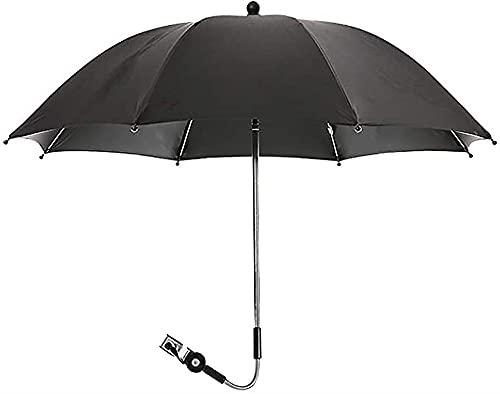 LIUPING Paraguas Parasol para Cochecito 360 ° Ajustable Giratorio Universal Infantil Protección Solar Impermeable Paraguas para Cochecito Cochecito Y Buggy (Color : Black, Size : 85cm)