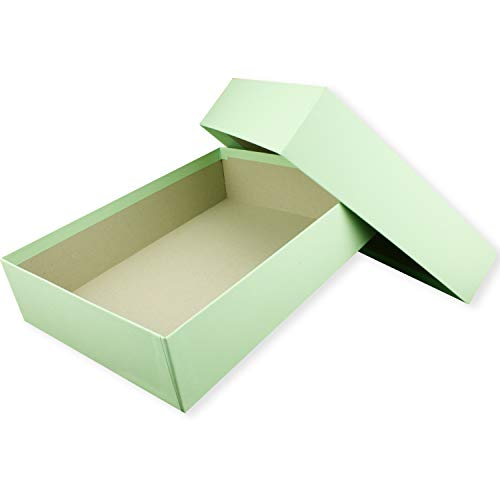 Hochwertige Aufbewahrungs- und Geschenkboxen - 1 Stück - DIN A4 - Mintgrün (Grün) bezogen - 302 x 213 x 70 mm