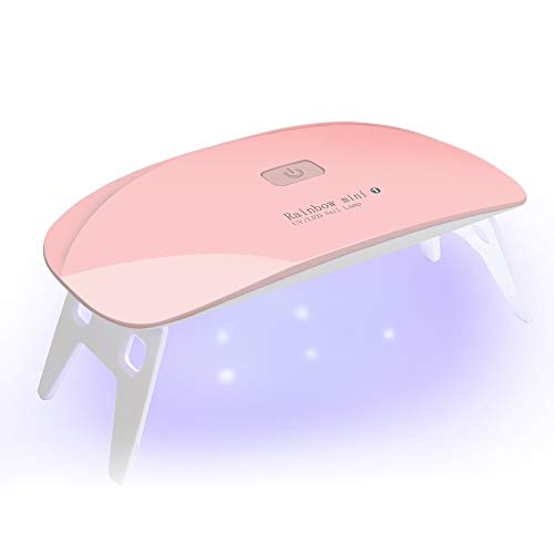 Nail Dryer, UV LED Nail Lamp,Led Gel Nail Polish Curing Lamp with Gloves for Acrylic & Gel Manicures Fingernail & Toenail Polish Art (Mini 6w-Pink)