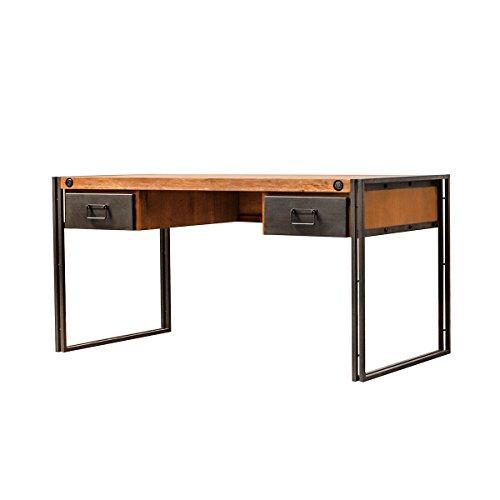 Meubletmoi Vintage Schreibtisch aus Massivholz und Metallgestell / 2 Schubladen – feiner Verarbeitung – Workshop Kollektion