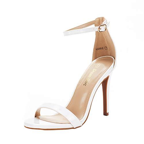 DREAM PAIRS Women's Karrie White Pat High Stiletto Pump Heeled Sandals Size 5.5 B(M) US