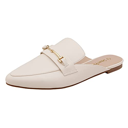 DREAM PAIRS Women's DML212 Flat Mules Buckle Pointed Toe Backless Slip on Slides Loafer Shoes, White Pu, Size 8.5