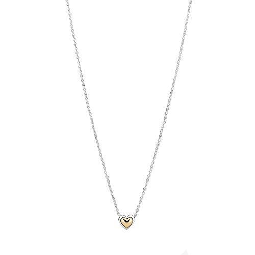 Pandora, gewölbtes goldenes Herz, Halskette, Sterling Silber und 14k Gold, 399399C00-45