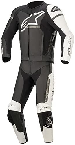 Alpinestars GP Force Phantom - Traje de piel para motocicleta, 2 piezas, color negro, blanco y gris, talla 54