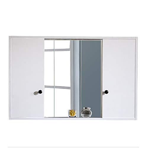 Wilk Mueble de baño badspiegelkast met schuifdeuren, badkamerkast, multifunctionele keukenopslag organizer, badspiegelkast, wit