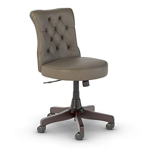 Bush Furniture Salinas Mid Back Tufted Office Chair, Washed Gray Leather